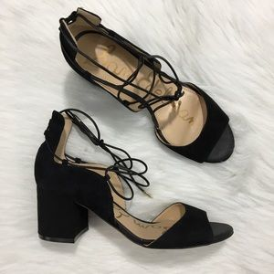 Sam Edelman Serene Lace Up Sandal Block Heel Black